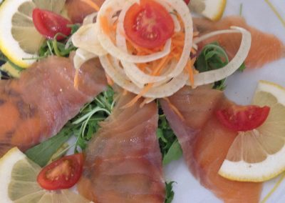 Scottish smoked salmon Loch Fyne with fennel and salad
